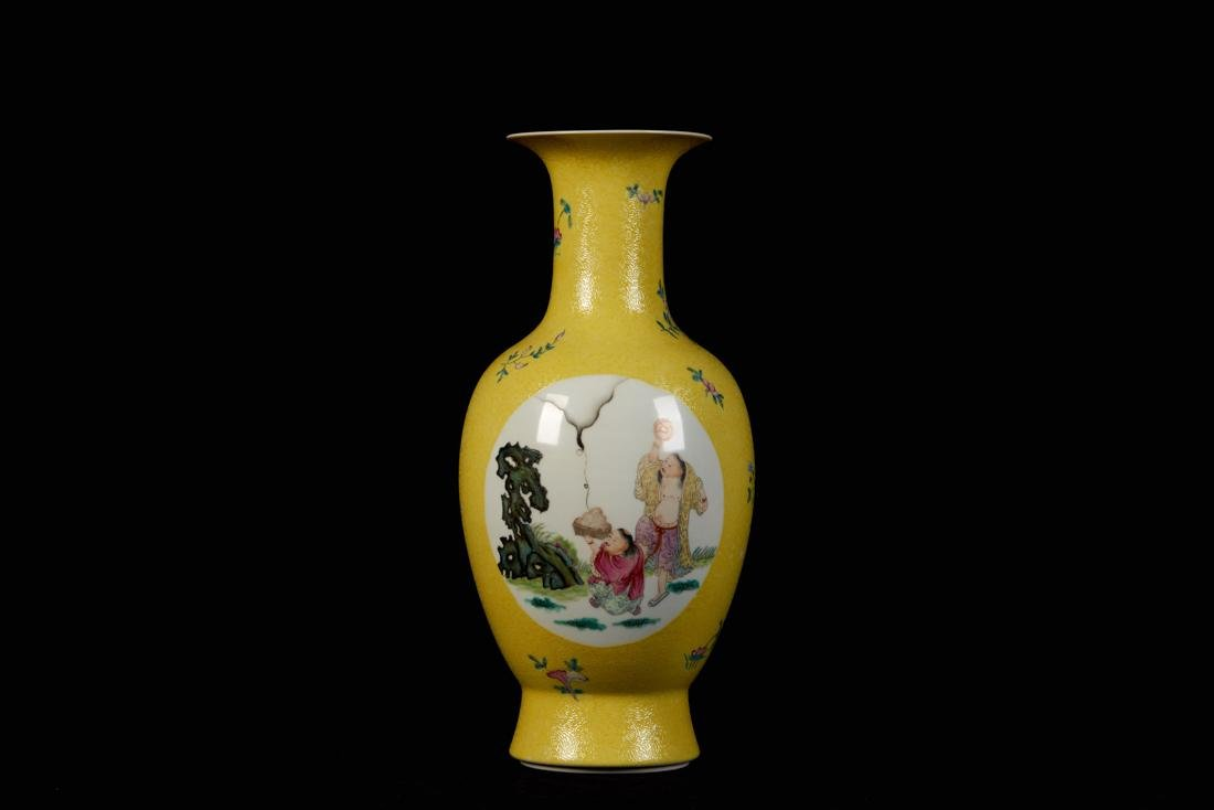 Chinese famille rose Guanyin vase