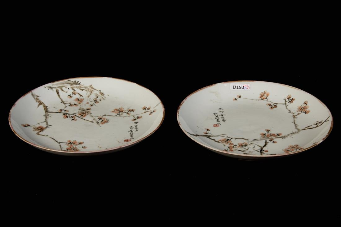 A pair of Light colorful porcelain plate