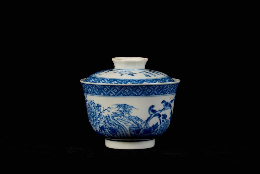 Blue and white bowl with cover