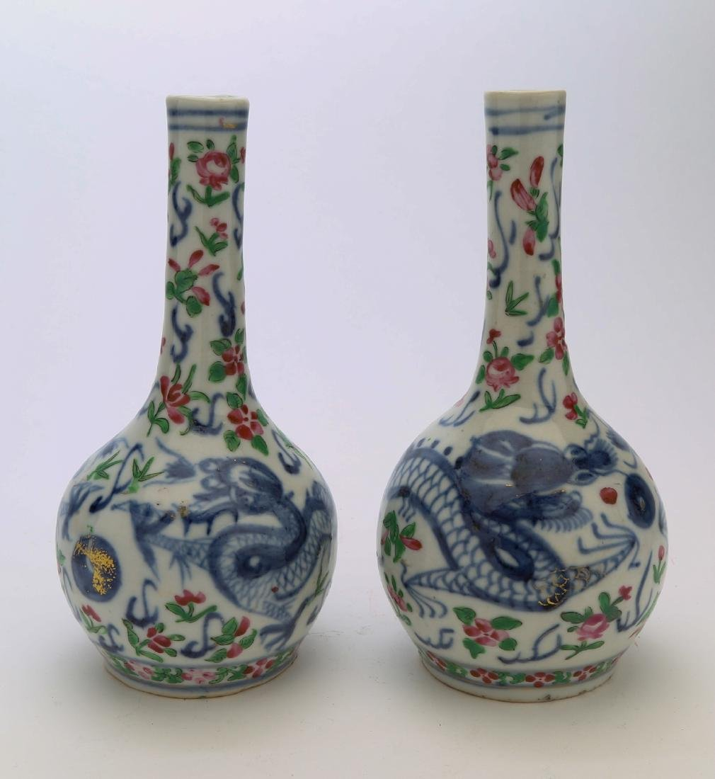 A pair of chinese porcelain carved vase