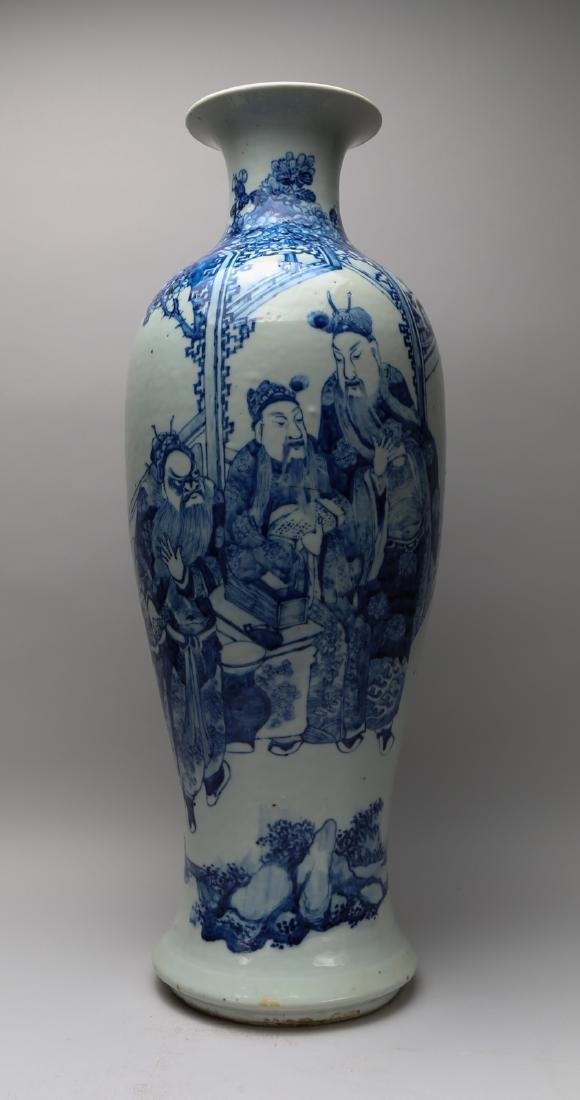 Qing dynasty blue and white vase with painting of peach