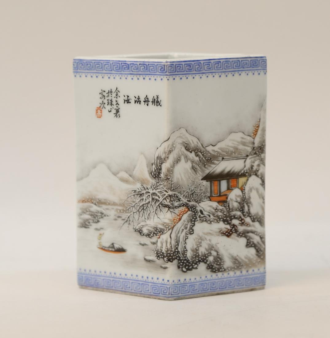 Chinese 20 century porcelain brush pot