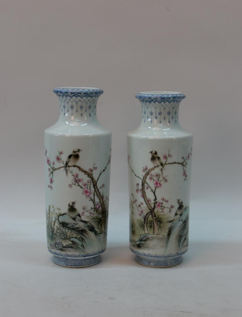 A pair of chinese famille rose pocelain bottle