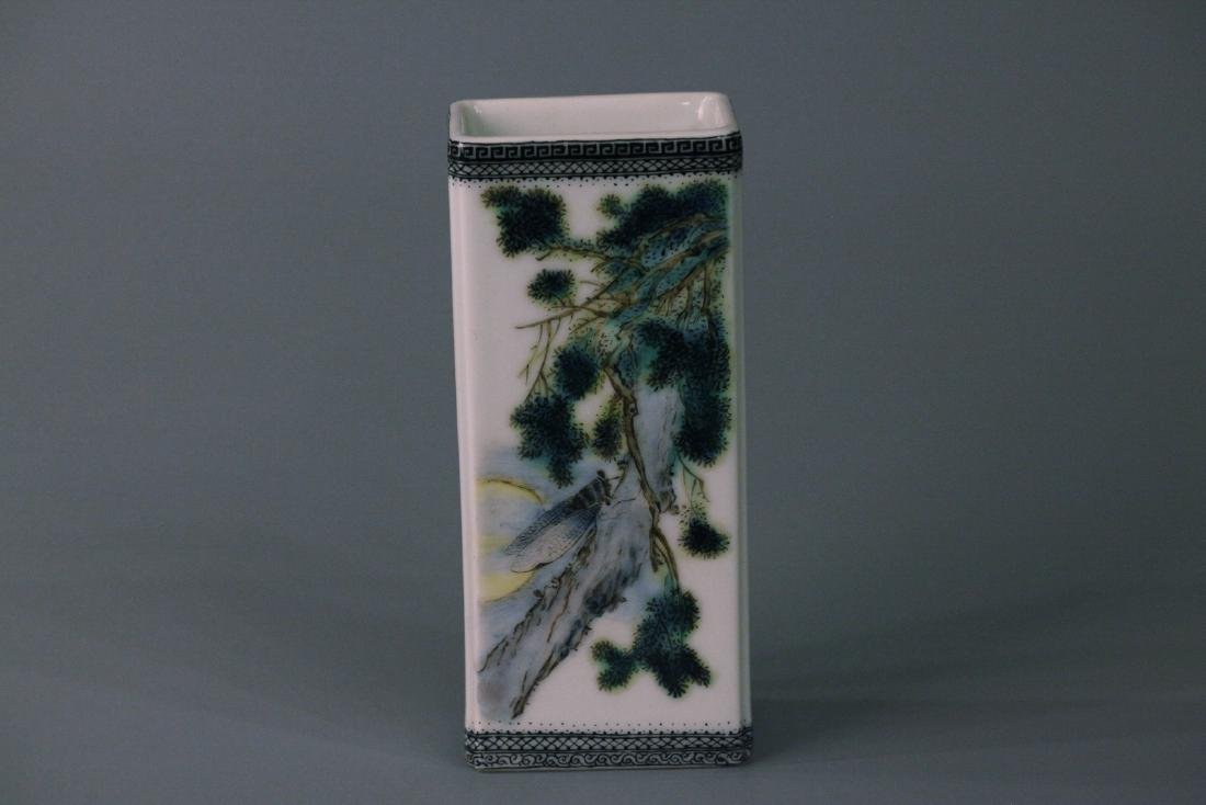 A chinese famille rose square brush pot