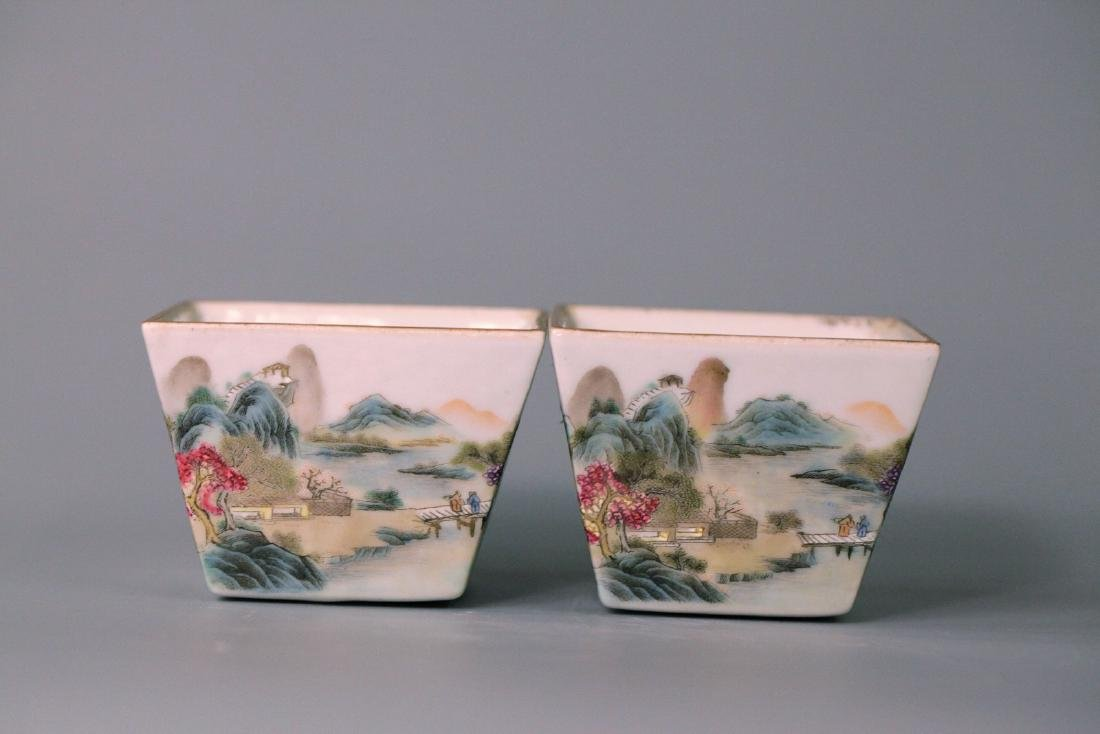 Pair of chinese famille rose square cups
