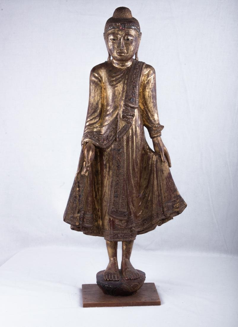 Thai gilt wood standing buddha