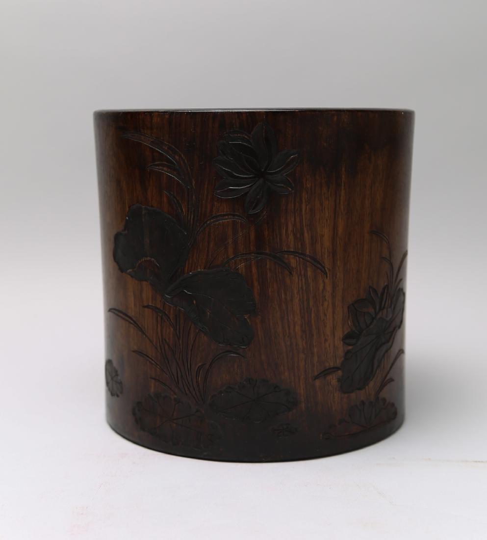 Huanghuali brush bot carving of lotus