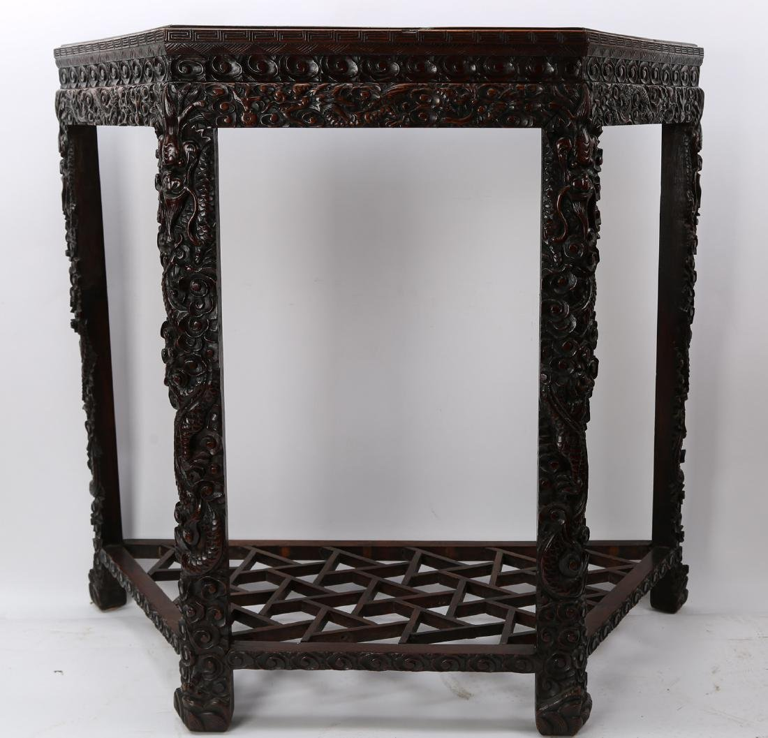 Chinese antique rosewood half table carved