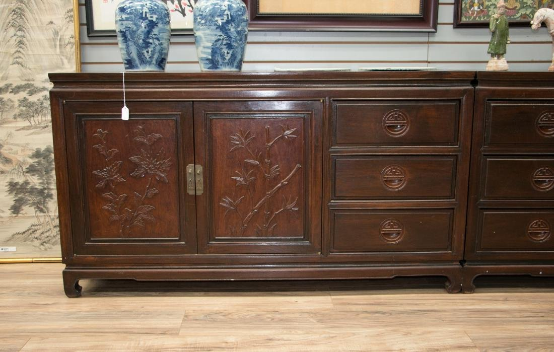 A pair of chinese 19 century rosewood cabinet