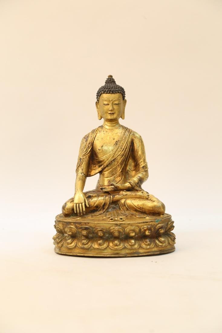 Chinese 18 century copper buddha statue