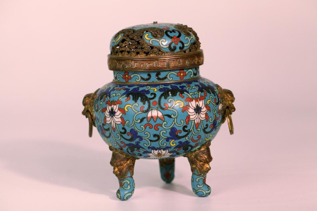 A chinese cloisonne incense