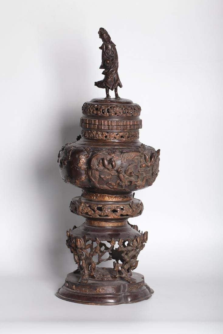 A chinese bronze carved incense