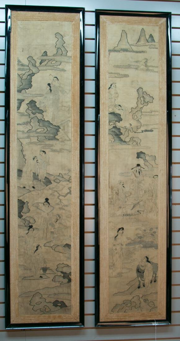 A pair of rare and large framed panels