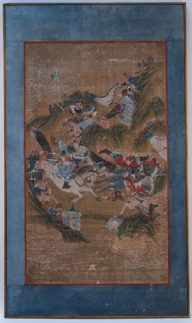 Chinese 18 century watercolor painting on silk with