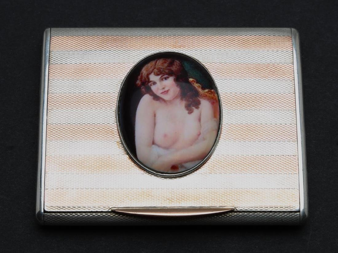 Antique silver enamel business card box