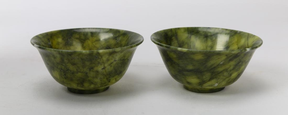 A pair of Qing dynasty green jade bowl