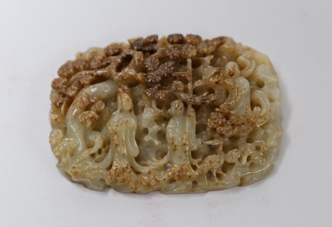 Hetian jade carving of chinese courtyard and figure