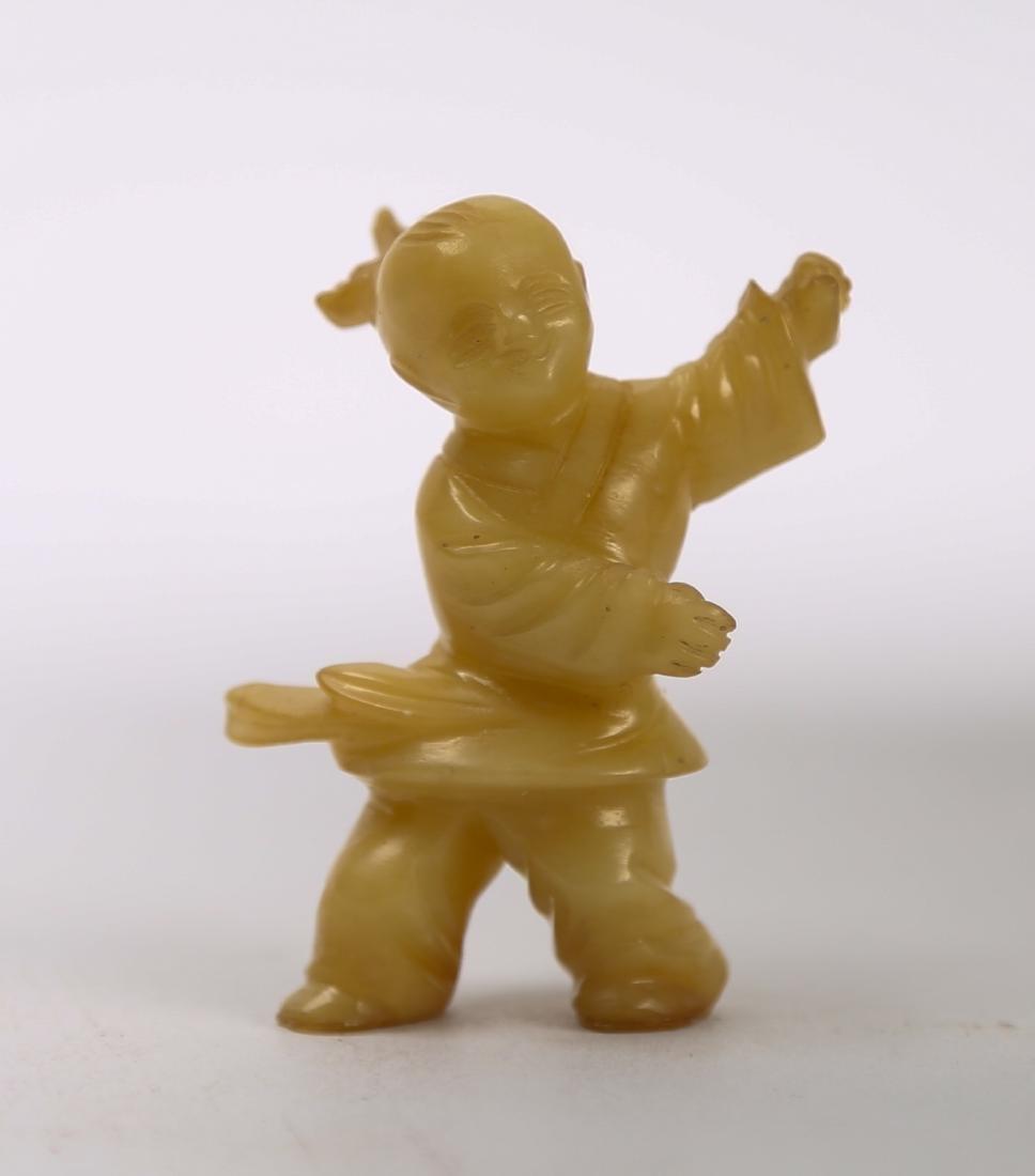 Hetian yellow jade carving of boy