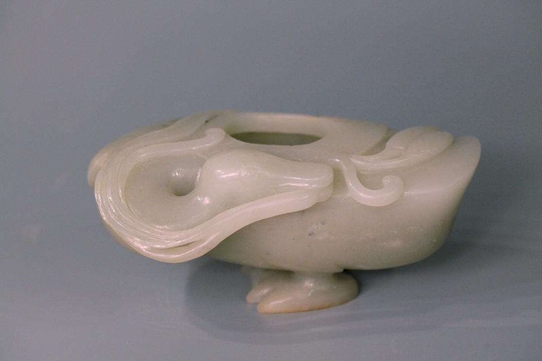 A chinese jade duck shape wash pot