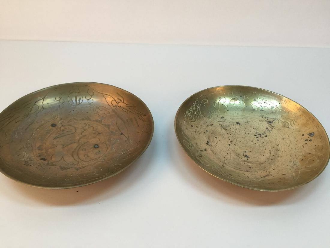 A pair of 20 century chinese bronze plate