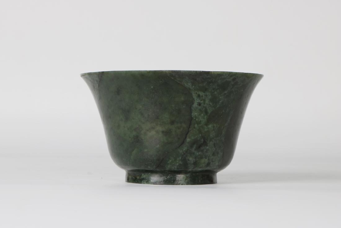 A chinese green jade bowl