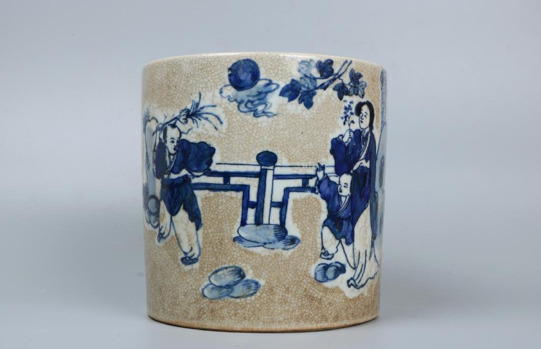 A chinese blue&white brush pot