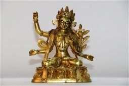 A chinese bronze gilding buddha statue