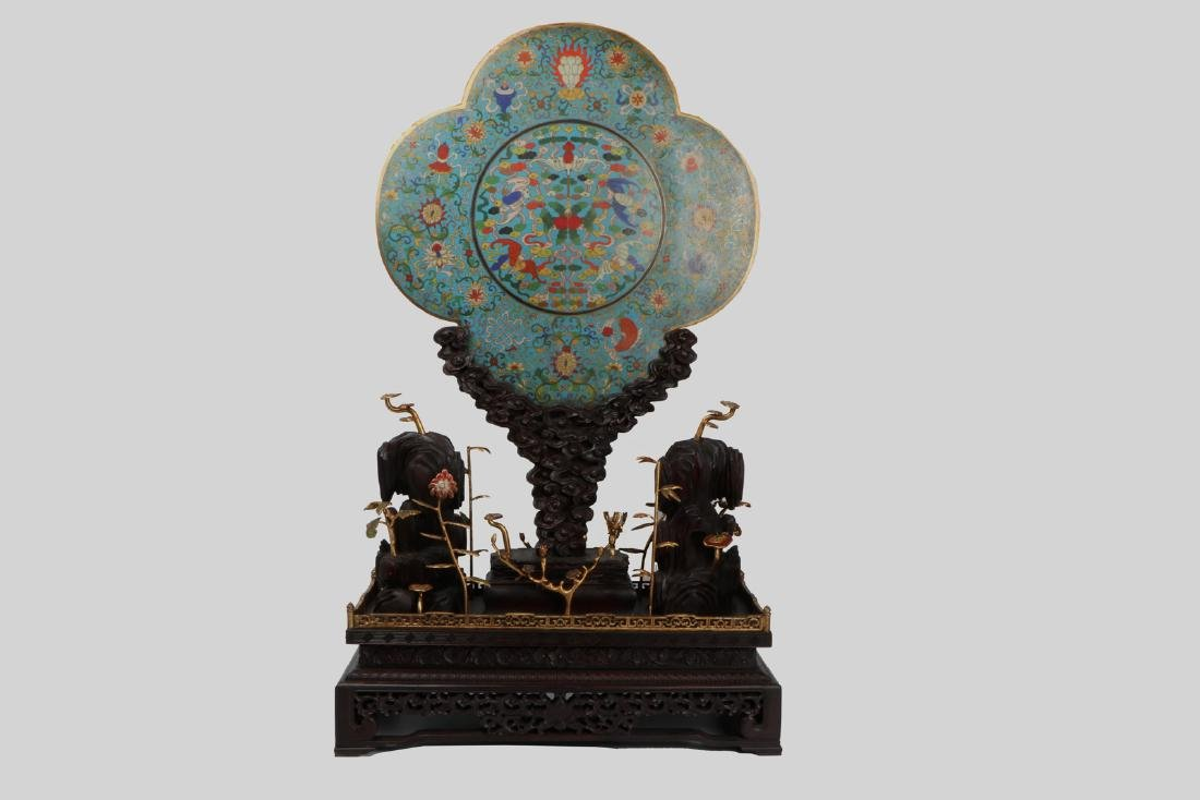 A chinese cloisonne screen with zitan holder