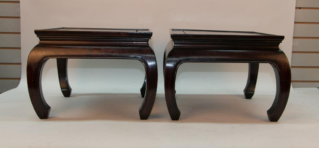 A pair of chinese hardwood small stool