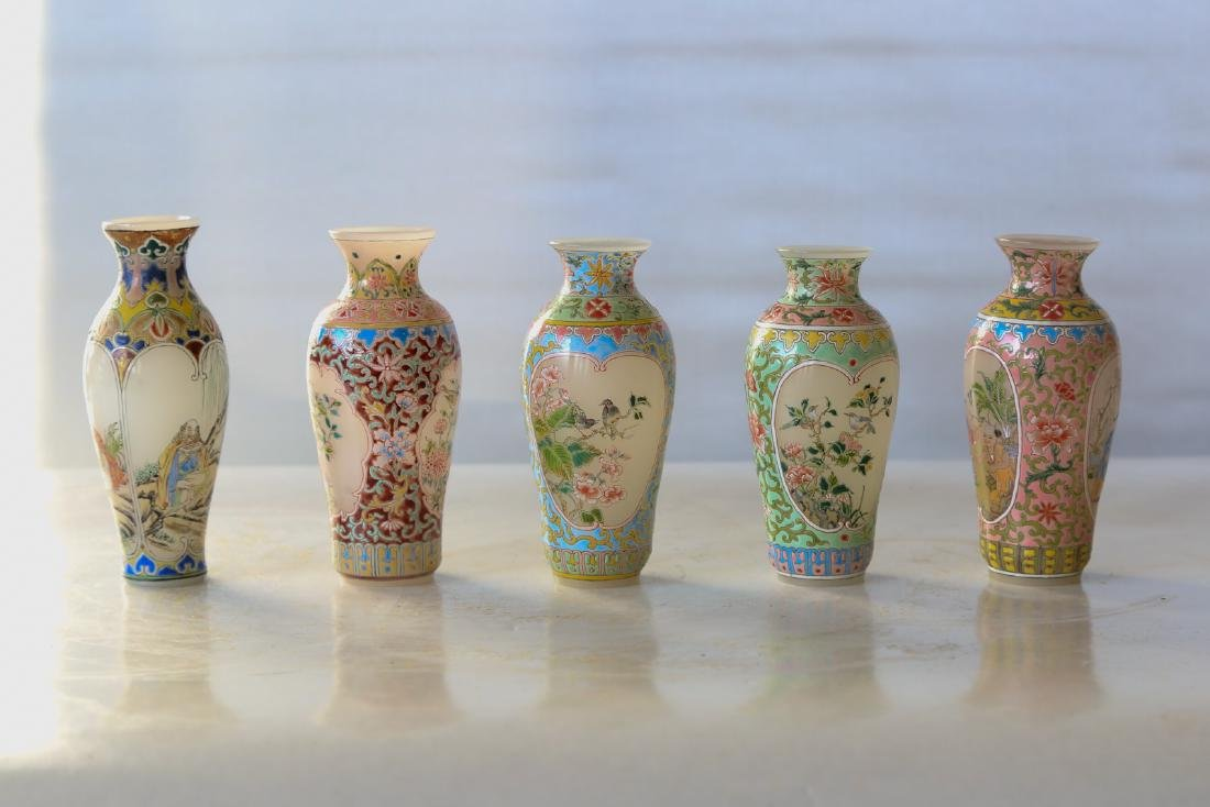 A group of chinese glass enamel printed vase