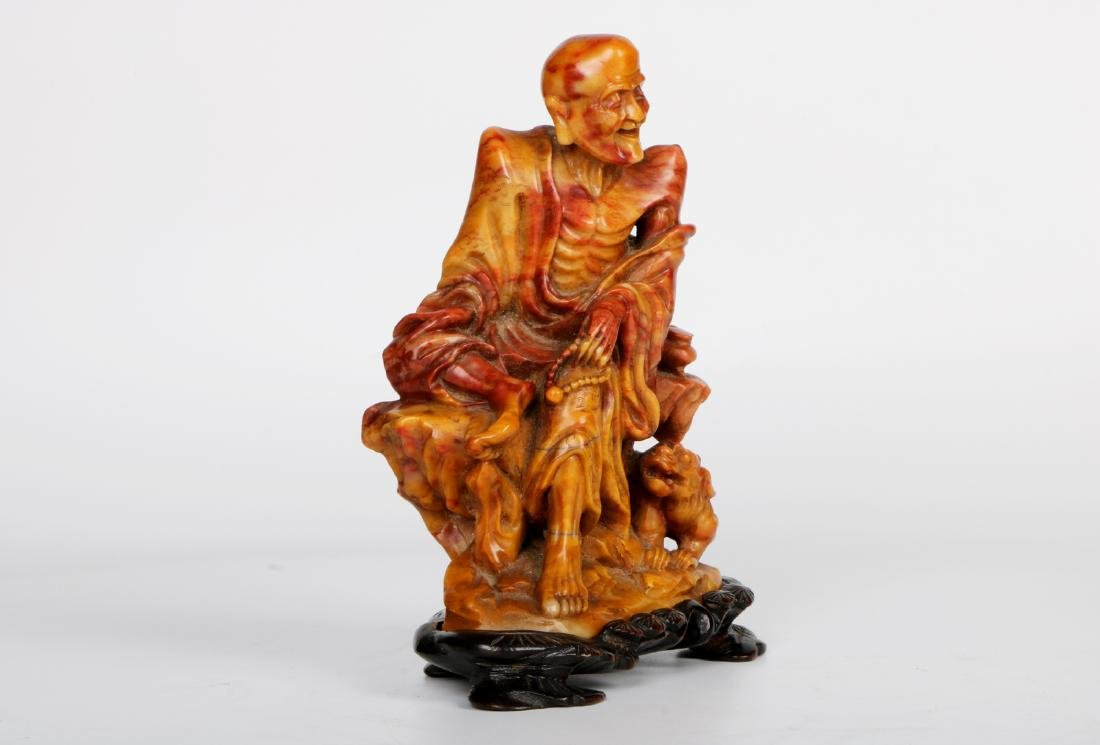 A chinese shoushan stone statue with rosewood base - 2