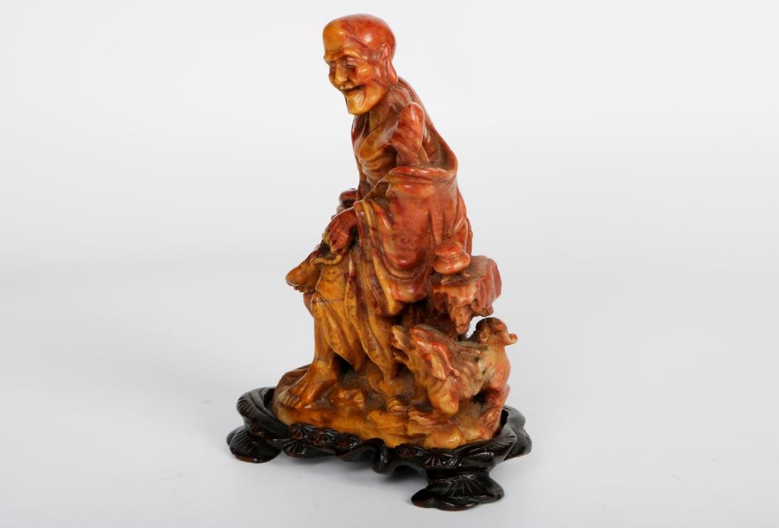 A chinese shoushan stone statue with rosewood base - 3