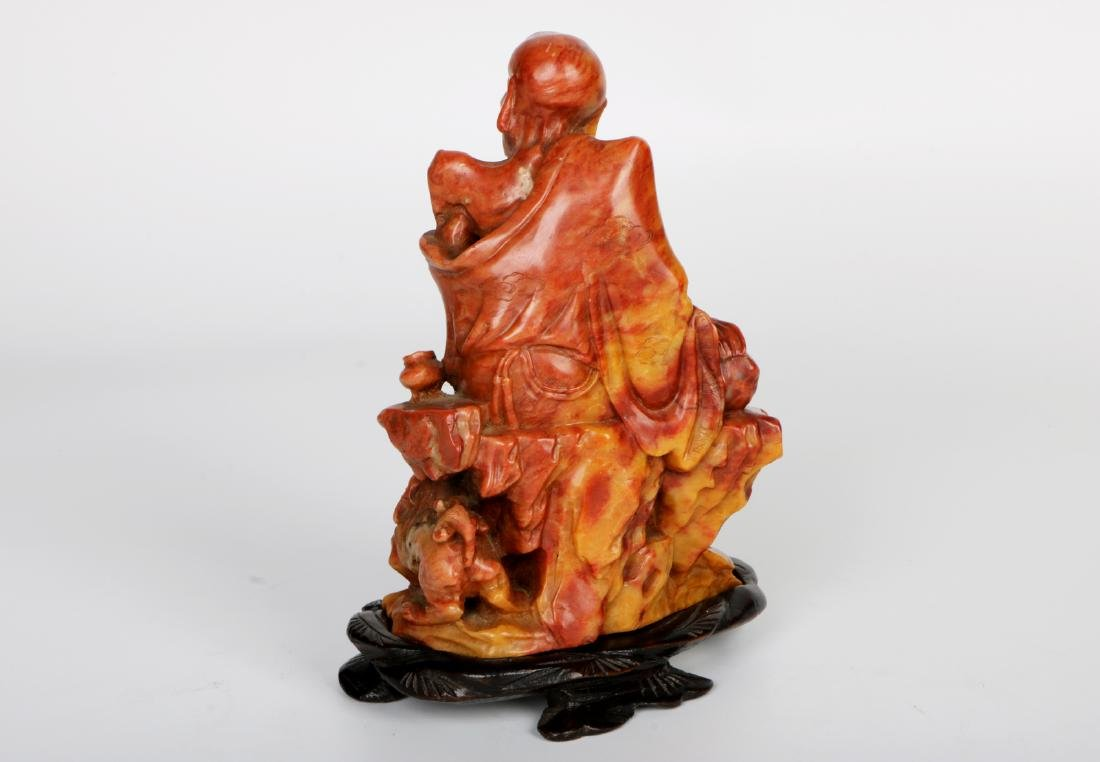 A chinese shoushan stone statue with rosewood base - 4