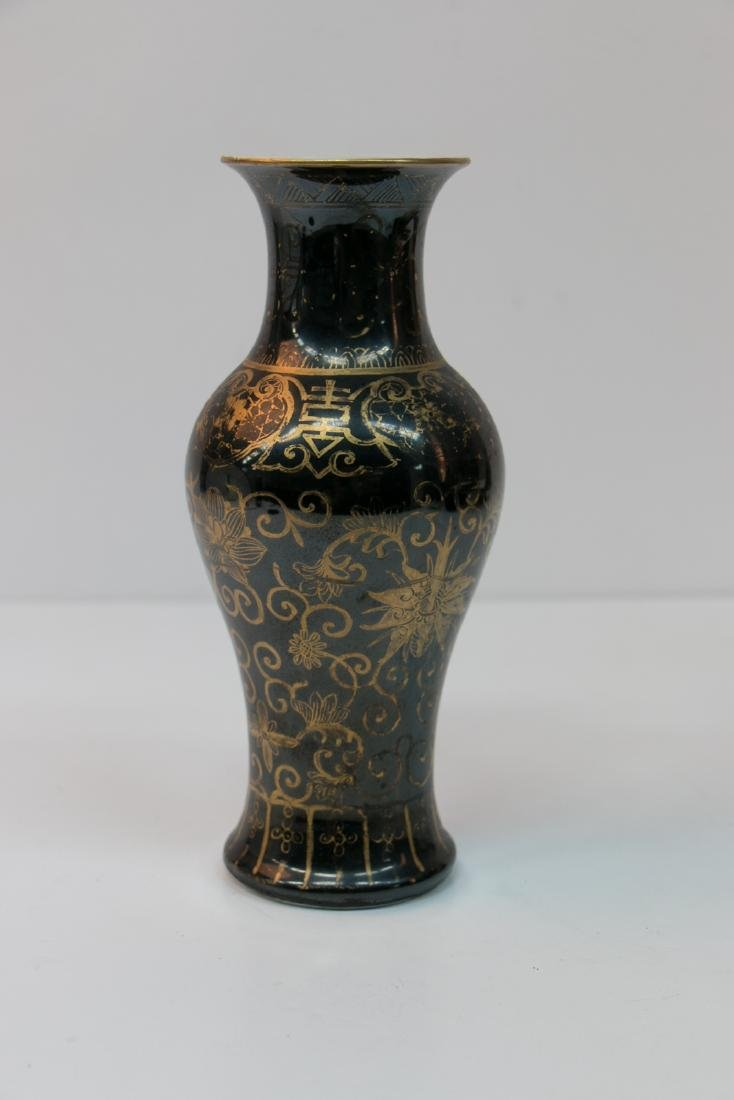 A chinese gold painting porcelain vase - 2