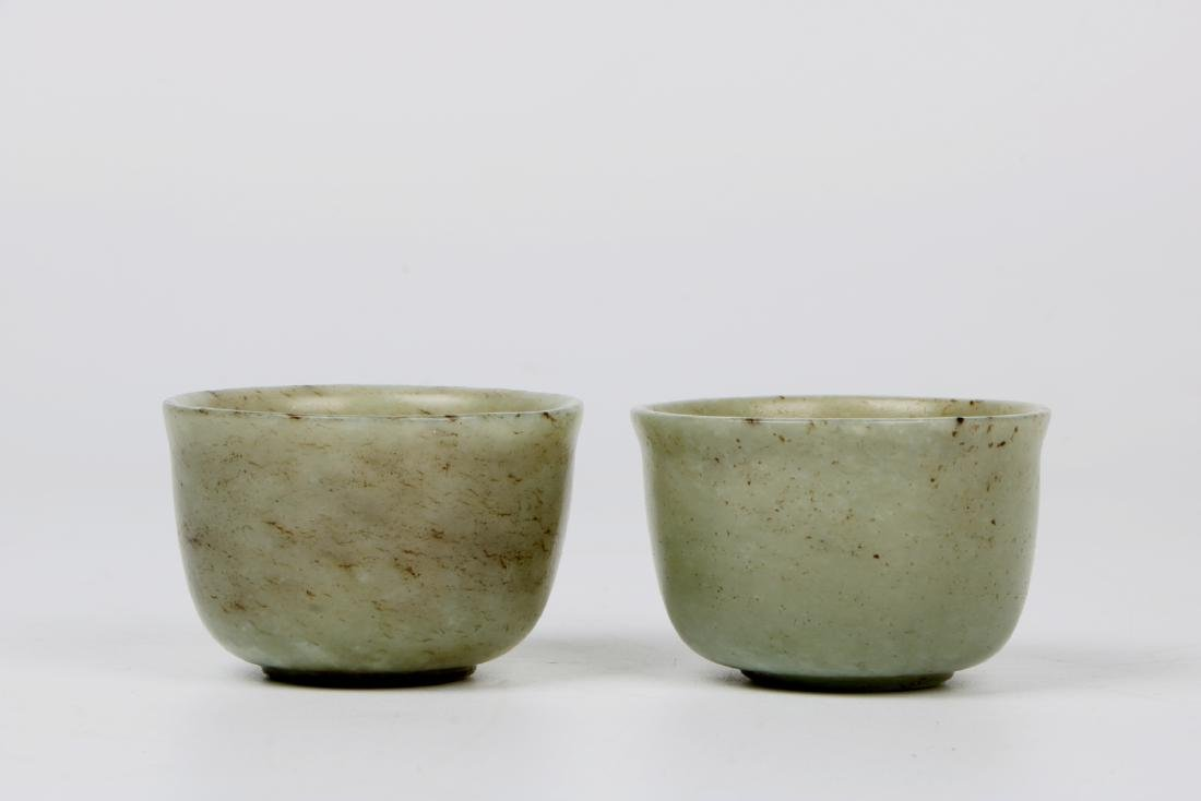 A pair of chinese white jade cups - 3