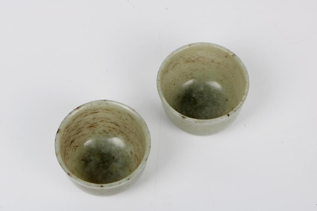 A pair of chinese white jade cups - 5