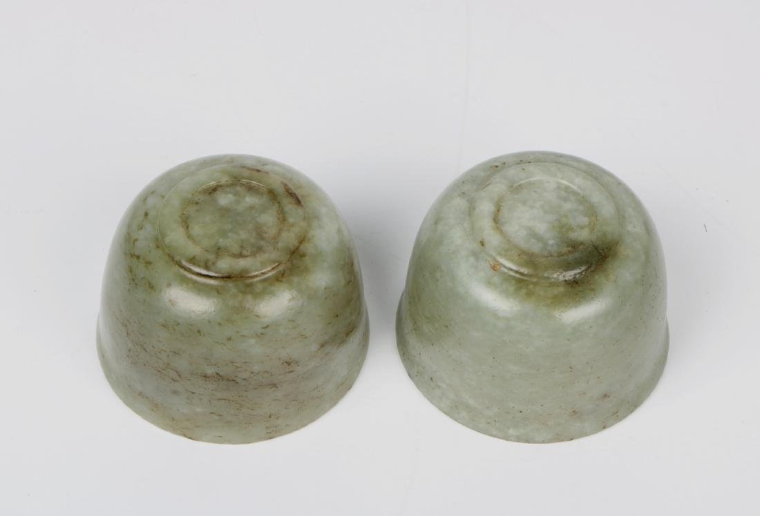 A pair of chinese white jade cups - 6