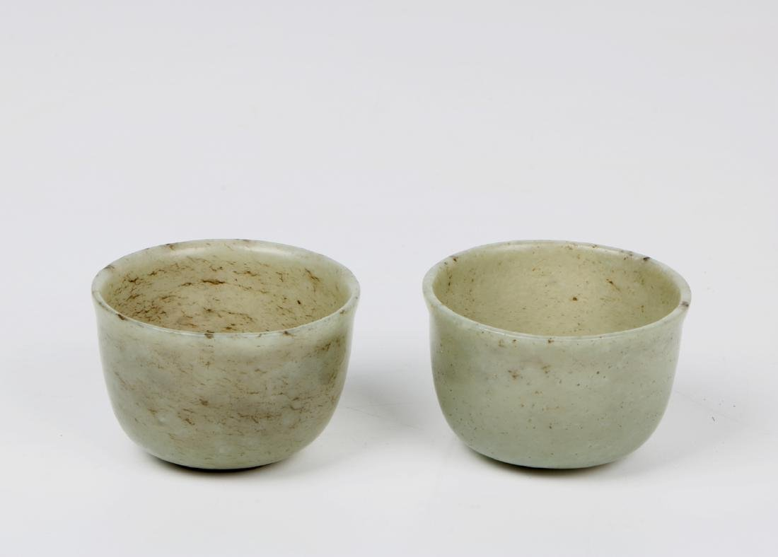A pair of chinese white jade cups - 7