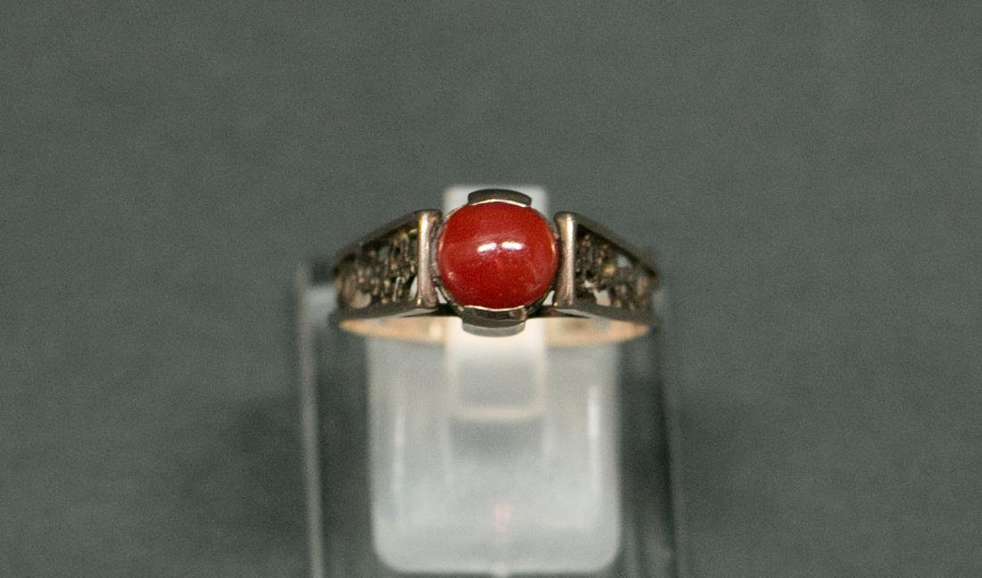 A14k red coral ring - 8