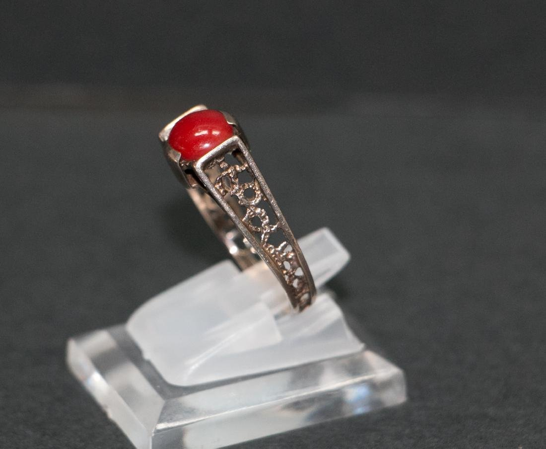 A14k red coral ring - 9