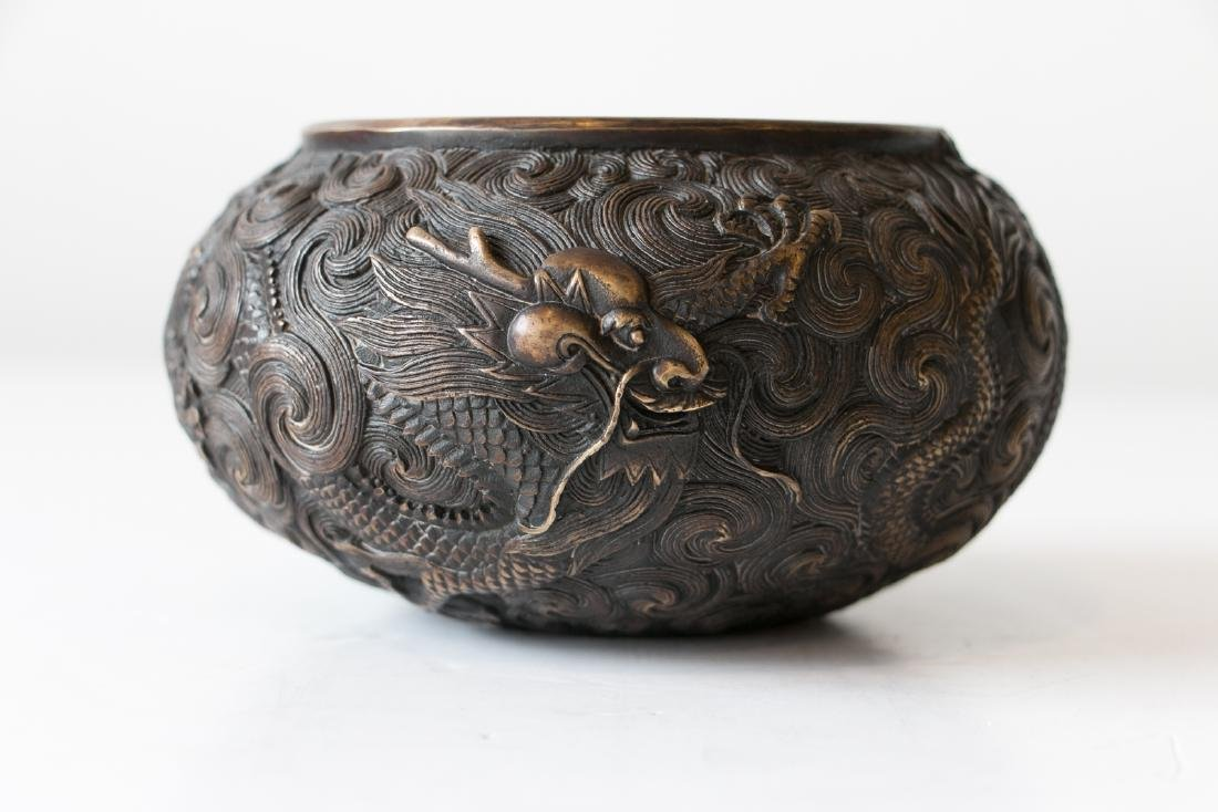 A chinese bronze carved wash pot