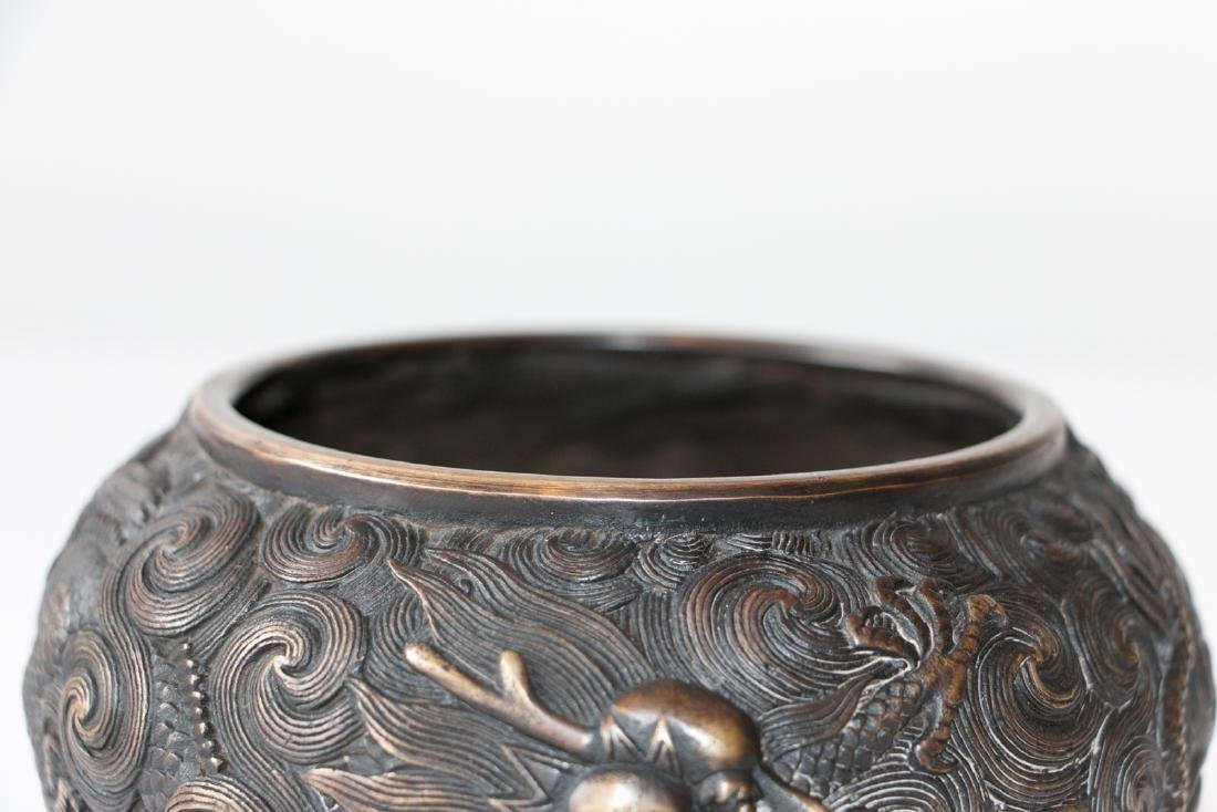 A chinese bronze carved wash pot - 4