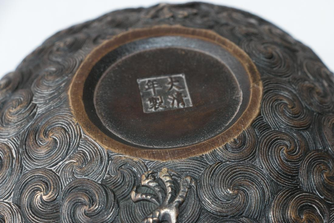 A chinese bronze carved wash pot - 5