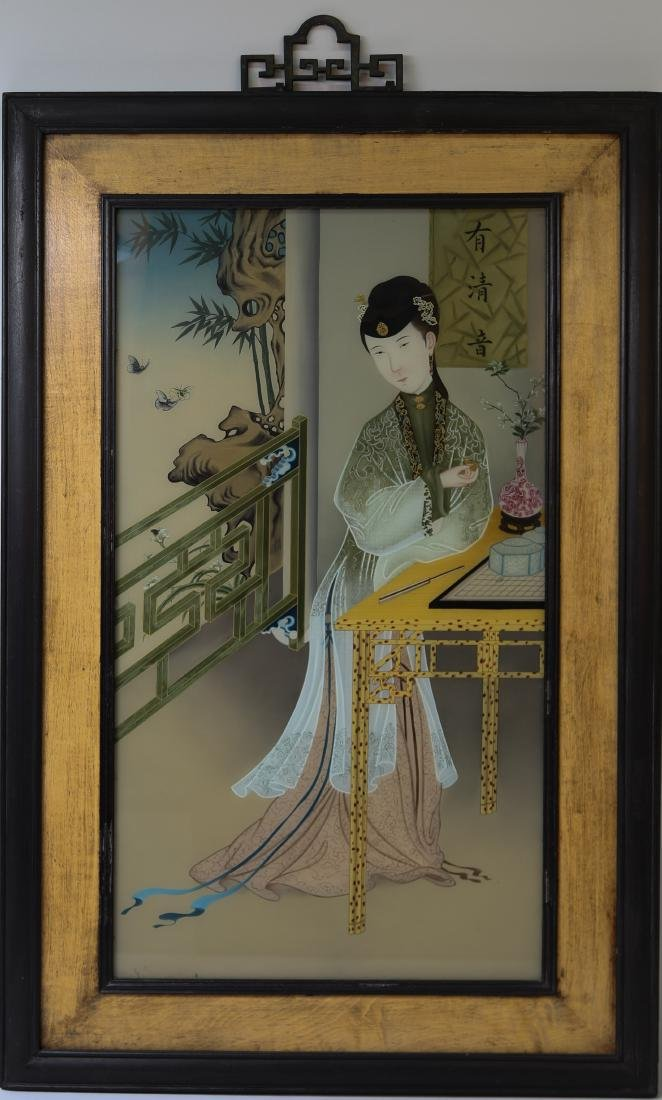 Chinese old painting on glass