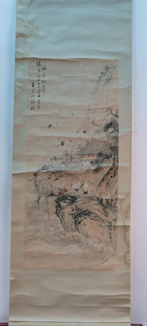 A chinese ink wash painting on paper