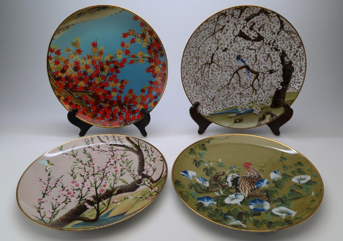 Four seasons japanese porcelain plate