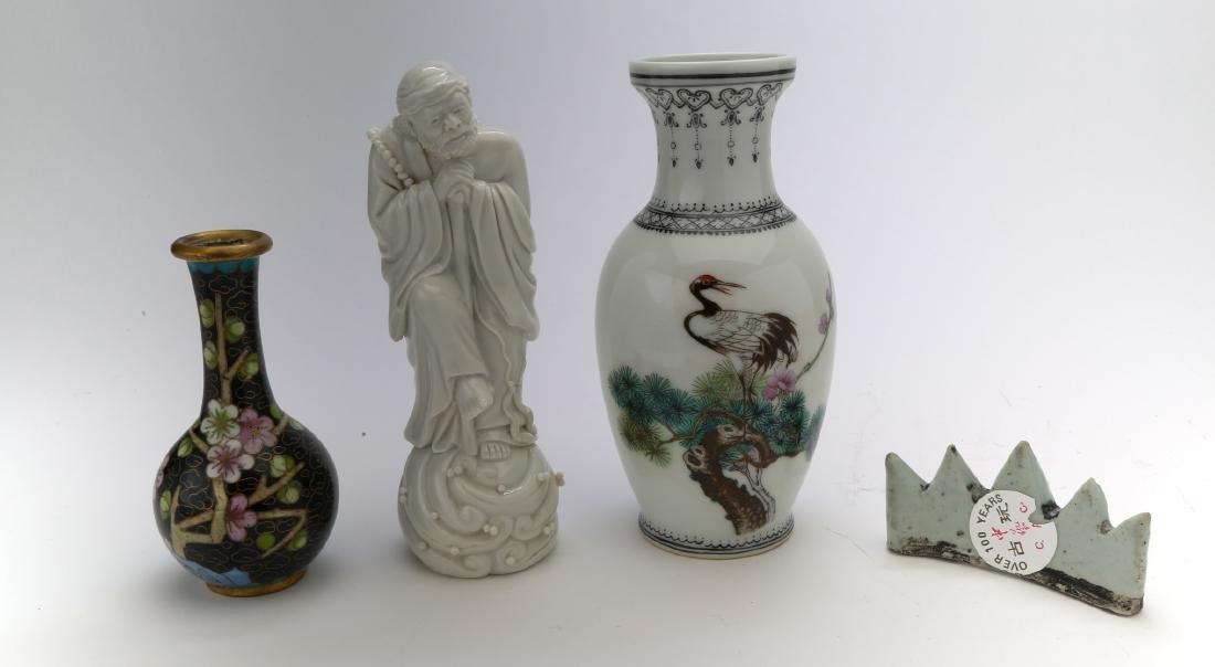 3 chinese porcelain vase, figure and brushholder. 1