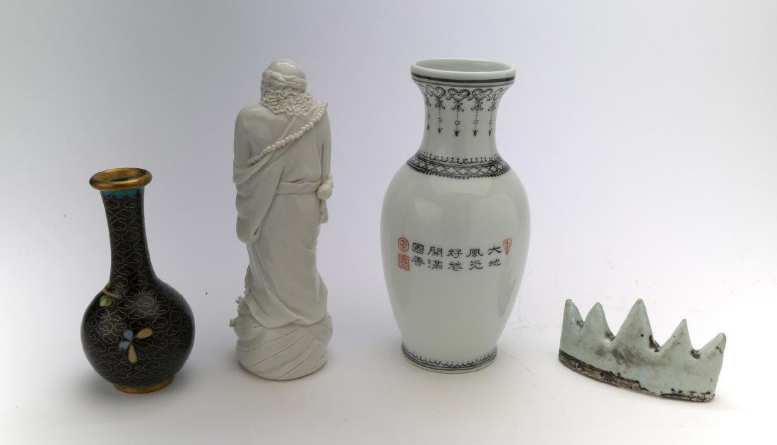 3 chinese porcelain vase, figure and brushholder. 1 - 2
