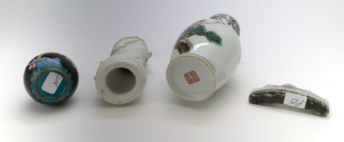 3 chinese porcelain vase, figure and brushholder. 1 - 3