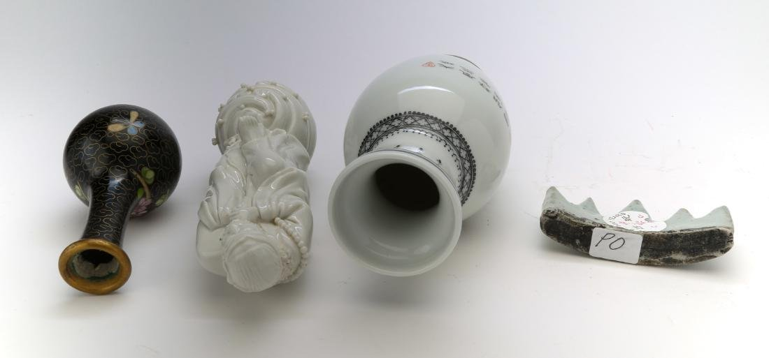 3 chinese porcelain vase, figure and brushholder. 1 - 4